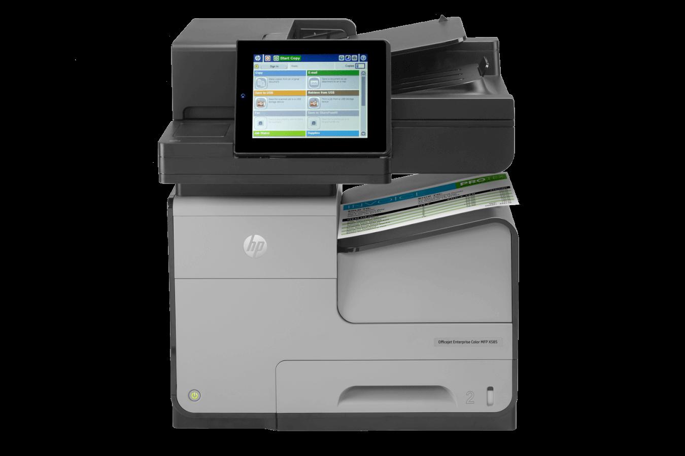 HP Officejet Enterprise Color MFP X585. Deux fois moins cher et deux fois plus rapide que le laser !